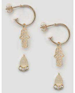 Pack Of 2 Pretty Stone Stud & Hamsa Hoop Earrings