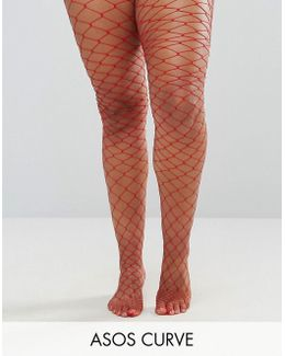 Oversized Fishnet Tights Red