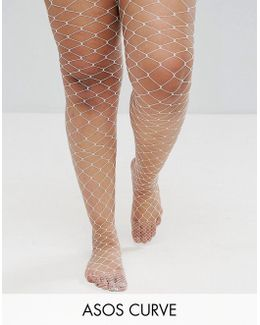 Oversized Fishnet Tights In White