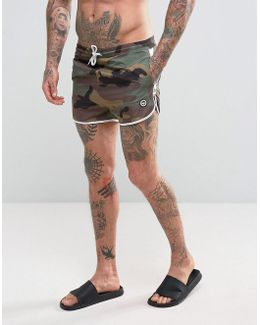Swim Shorts In Camo With Taping