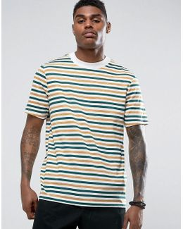 Relaxed Stripe T-shirt With Deep Neck Trim In Slub Fabric
