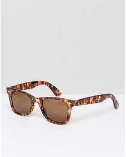 Square Sunglasses In Tort With Brown Lens