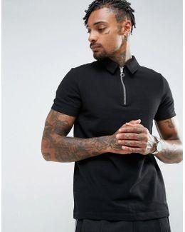 Zip Neck Pique Polo Shirt