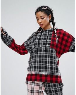 Oversized Hoodie In Patchwork Check Co-ord