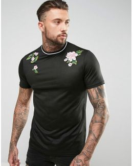 Longline T-shirt In Mesh With Floral Embroidery