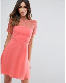 Lace Insert Panelled Mini Dress