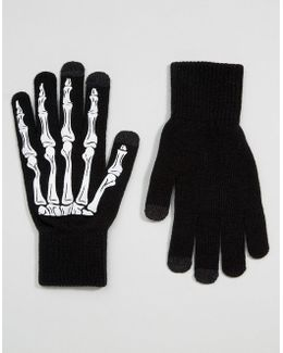 Halloween Touchscreen Gloves In Black With Skeleton Print