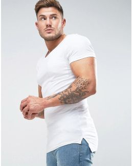 Muscle Scoop Neck T-shirt With Chest Pocket In White