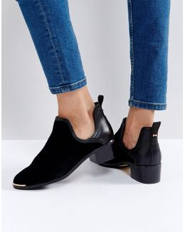 Twillo Cut Out Black Suede Flat Ankle Boots