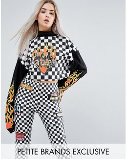 Cropped Long Sleeve Top In Check Logo Print