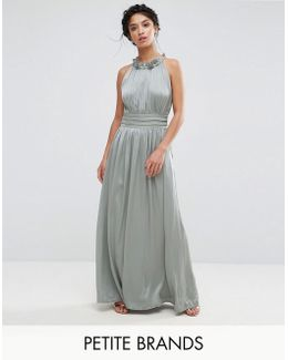 Ruched Pleated Maxi Prom Dress