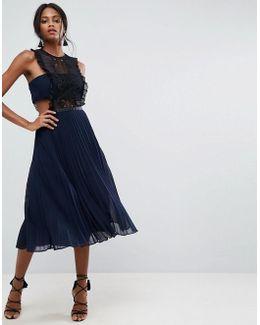 Lace Pinafore Pleated Midi Dress