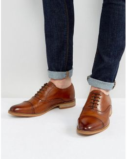 Oxford Shoes In Tan Leather With Natural Sole