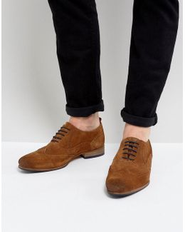 Brogue Shoes In Tan Suede With Contrast Sole And Lace Detail