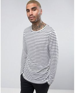 Relaxed Long Sleeve T-shirt In Linen Look Stripe
