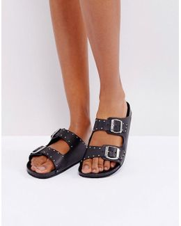 Leather Westernstudded Flatsandal