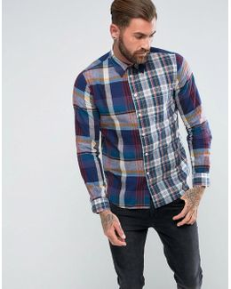 Contrast Check Shirt In Blue