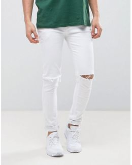 Super Skinny In White With Knee Rips