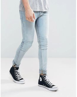 Super Skinny Jeans In Light Wash Blue With Cut And Sew Panel