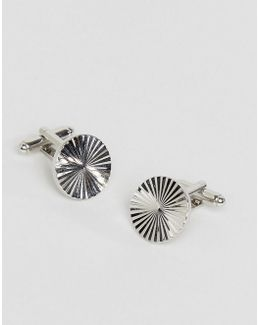 Circular Embossed Cufflink In Silver
