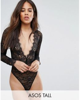 Tall Lila Eyelash Lace Plunge Body