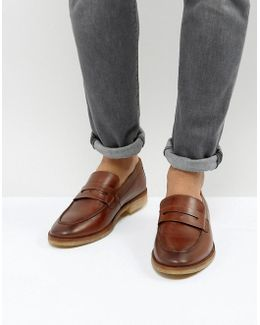 Loafers In Tan Leather With Gum Sole