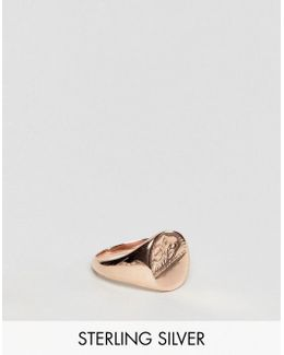 Sterling Silver Signet Ring With Rose Gold Plating