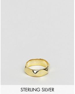 Sterling Silver Ring With Gold Plating
