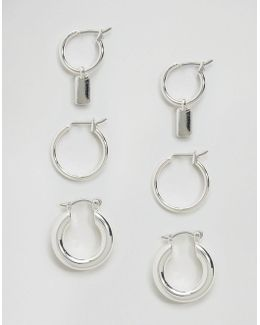 Pack Of 3 Hoop Charm Earrings