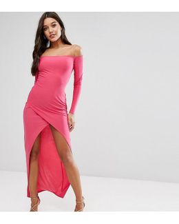 Bardot Assymetric Maxi Dress With Wrap Skirt