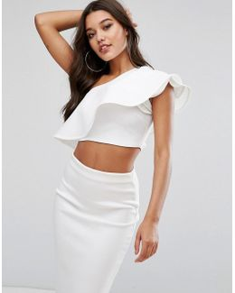 One Shoulder Ruffle Structured Detail Top