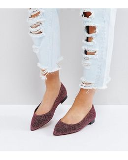 Lacey Wide Fit Pointed Ballet Flats