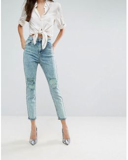 Farleigh High Waist Slim Mom Jeans In Acid Wash Mint With Busted Knees