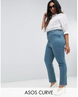 Farleigh High Waist Slim Mom Jeans In Cynthia London Blue With Side Tabs And Step Hem