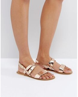 Finally Leather Flat Sandals