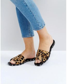 Fernando Leather Leopard Slider