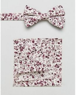 Floral Bow Tie And Pocket Square Pack