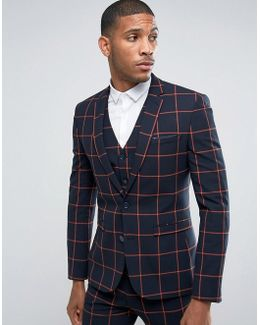 Super Skinny Suit Jacket In Navy With Orange Windowpane Check