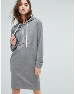 Jeans Logo Sweater Dress With Hood