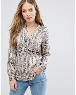 Printed V Neck Blouse