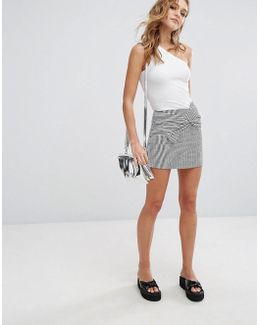 Stripe Detail Mini Skirt With Bow Front