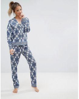 Tile Print Long Sleeve Shirt & Pant Pyjama Set