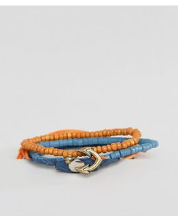 Leather And Beads Bracelet Pack With Anchor Clasp