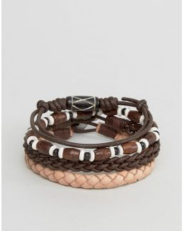 Leather Bracelet Pack In Brown With Beads