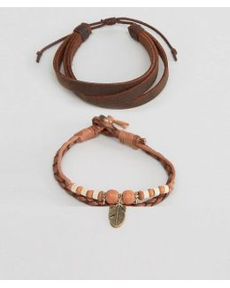 Leather Bracelet Pack In Tan With Feather Charm