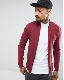 Cotton Track Top In Burgundy
