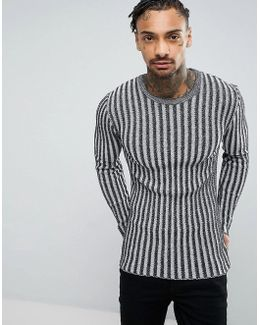 Muscle Fit Ribbed Jumper In Black