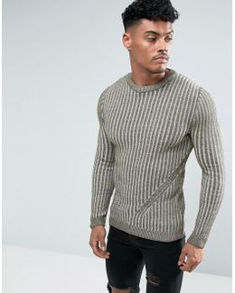 Muscle Fit Ribbed Jumper In Khaki