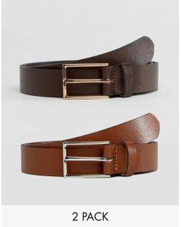 2 Pack Smart Leather Belt Save