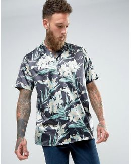 Oversized Sateen Hawaiian Print Revere Collar Shirt